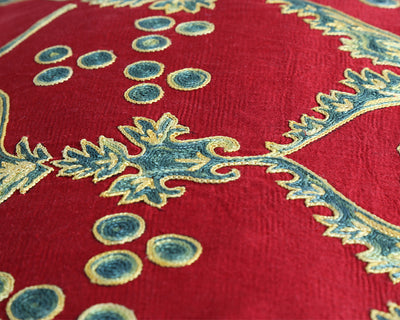 Sherry embroidered silk suzani cushion cover