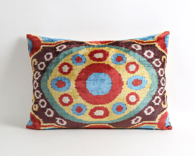 Nancy handwoven velvet ikat pillow cover