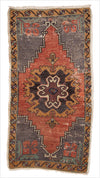 Vintage Small Turkish Rug - 1.11 x 3.9 feet - pillowmehome