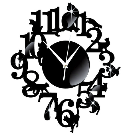 Unique Mirror Wall Clock Black