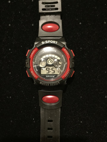 Kids Sports Watch Black Red