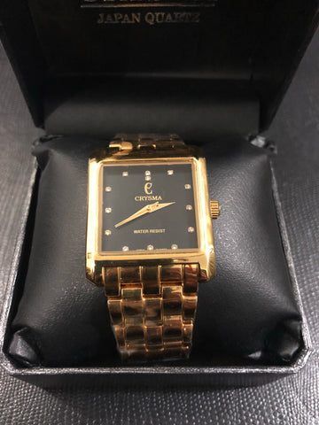 New Original Crysma Gold Black Watch