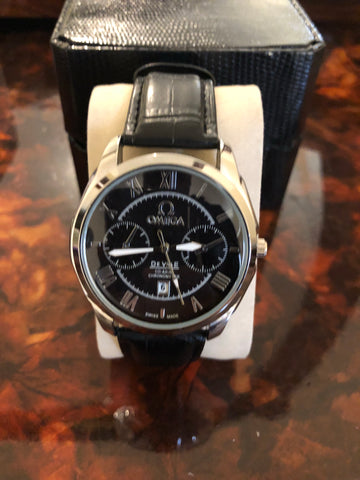 New Omega Black Leather AAA