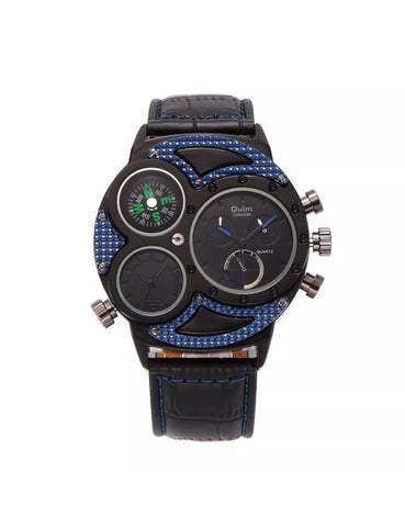 New Black Blue Big Dial Watch with all 3 sub dials working