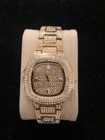 New All Diamonds Gold Watch