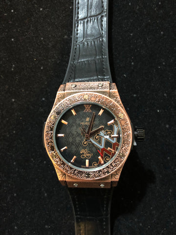 New Gold Black Leather Hublot AAA