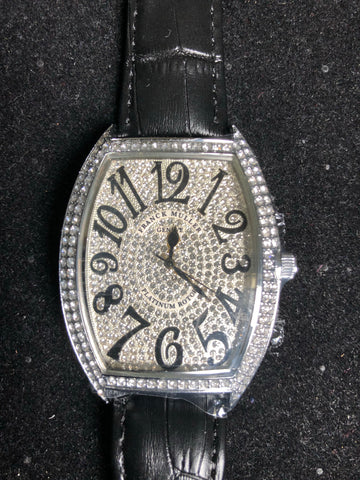 New Black Leather Iced Out Watch