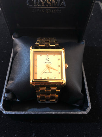 New Crysma Quartz Gold Square Watch