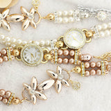 New Luxury White Pearl Bracelet Jewellery Quartz Watch