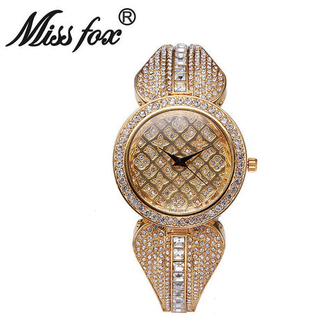 Women Metal Watch Bracelets Water Resistant Women Wrist Watch Top Brand Luxury Rhinestone Watch Gold Diamond Watches