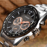 Men Luxury Stainless Steel Quartz Military Sport Steel Band Dial Wrist Watch
