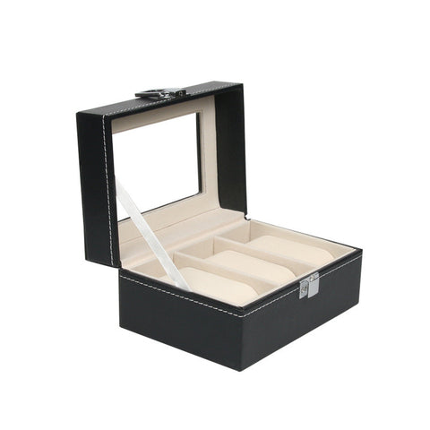 New High Quality Watch Box Large 3 Grids Gift Box Storage Case with Lock and Mirror