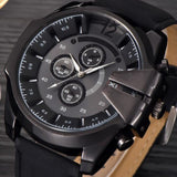 Cool Men's Watch Analog Sport Steel Case Quartz Dial Leather Wrist Watch Gift