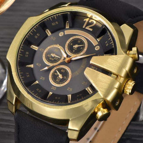 Men's Black Watches Leather Stainless Steel Quartz Military Wrist Watch Sport