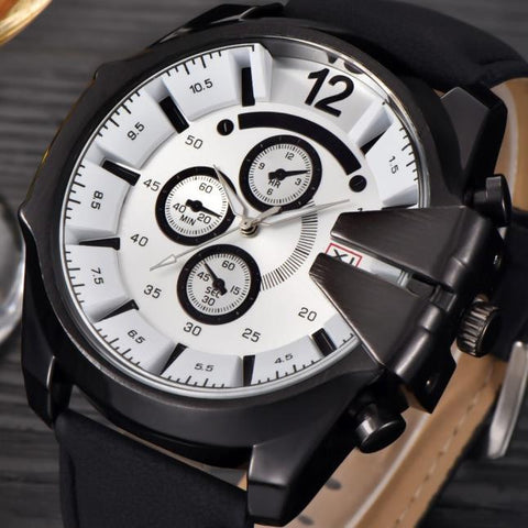 Men's Watches Steel Case Leather Stainless Steel Quartz Military Wrist Watch