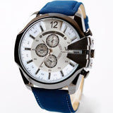 Men Watch Analog Sport Steel Case Quartz Dial Leather Wrist Watch