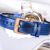 New Female Rose Gold Automatic Self-Wind Mechanical Watches Women Genuine Leather Strap Watch Fashion Ladies Montre Femme