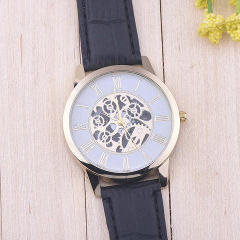 New Men Leather Gold Dial Watch Available in 3 colours