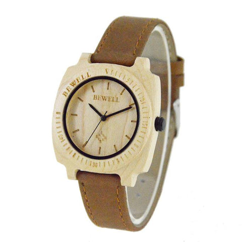 Men's Natural Wooden Wristwatch Wood Quartz Watch  + Box
