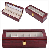 6 Slot Watch Display Case Organiser Jewellery Cosmetic Storage Box Holder