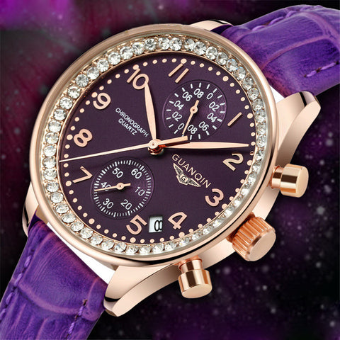 Luxury Brand 2018 Top Fashion Women Watches Chronograph Girl New Leather Quartz crystal Clock Female Dress Wristwatches