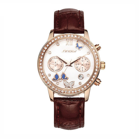 Brand new luxury diamond fashion butterfly watch leather ladies watch