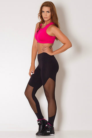 BLACK LUSTROUS CUTOUT LEGGING