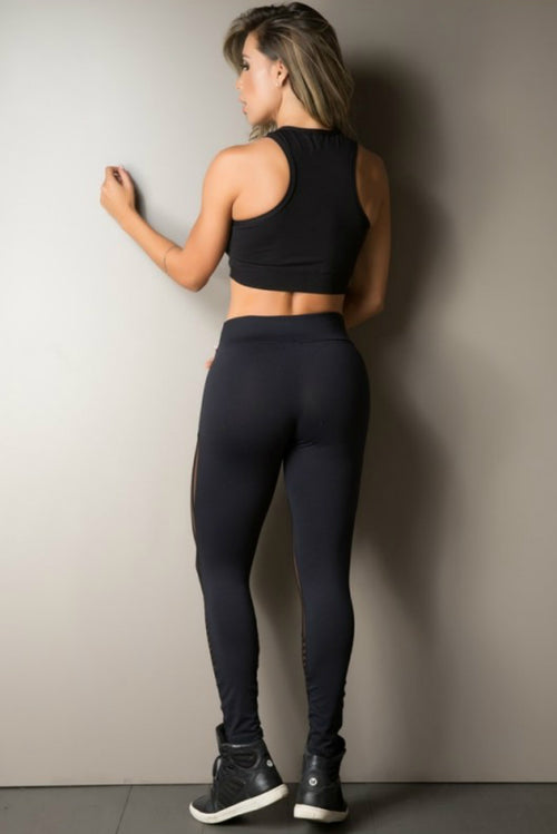 BLACK STRIPE MESH LEGGING GYM ROCKS CAPE TOWN 2