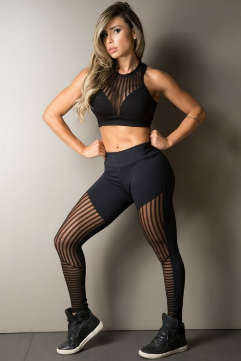 BLACK STRIPE MESH LEGGING GYM ROCKS CAPE TOWN 3