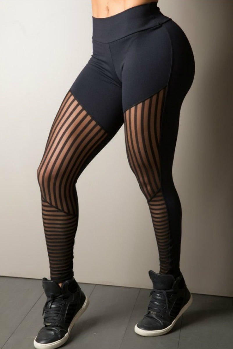 BLACK STRIPE MESH LEGGING GYM ROCKS CAPE TOWN 4