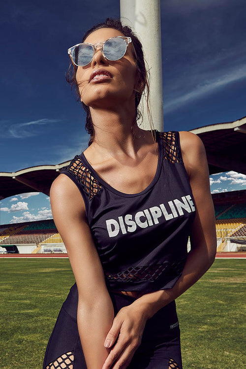 Black Mesh Sport Work Out Crop Tank Top. Made in Brazil