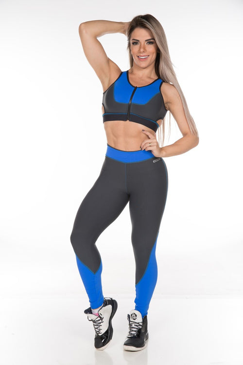 brazilian sportswear legging with blue cuts