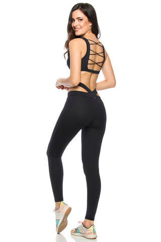 BLACK STRIPE MESH LEGGING