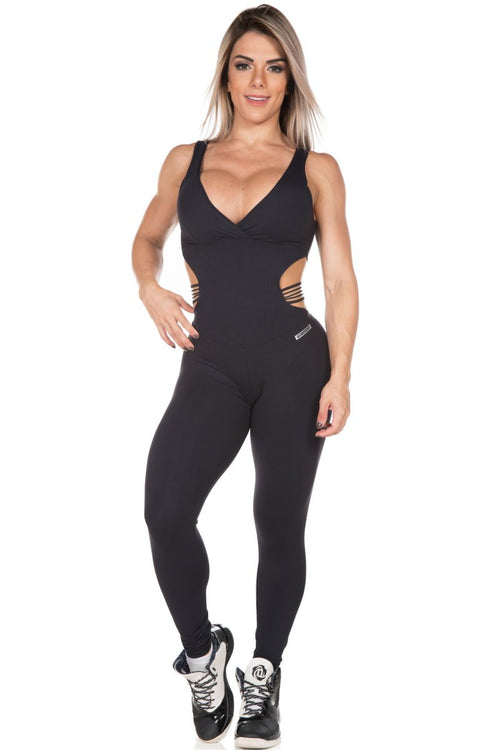 Brazilian Jumpsuit for gym with cut out detail.