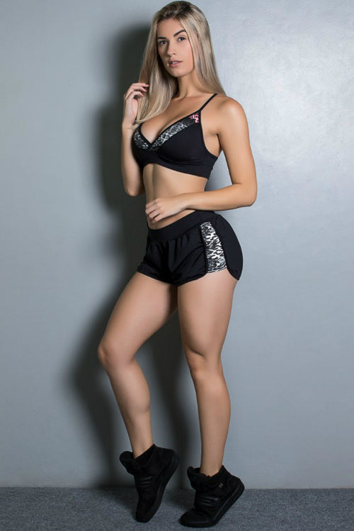MIXED PRINT SPORTS BRA & SHORTS SET