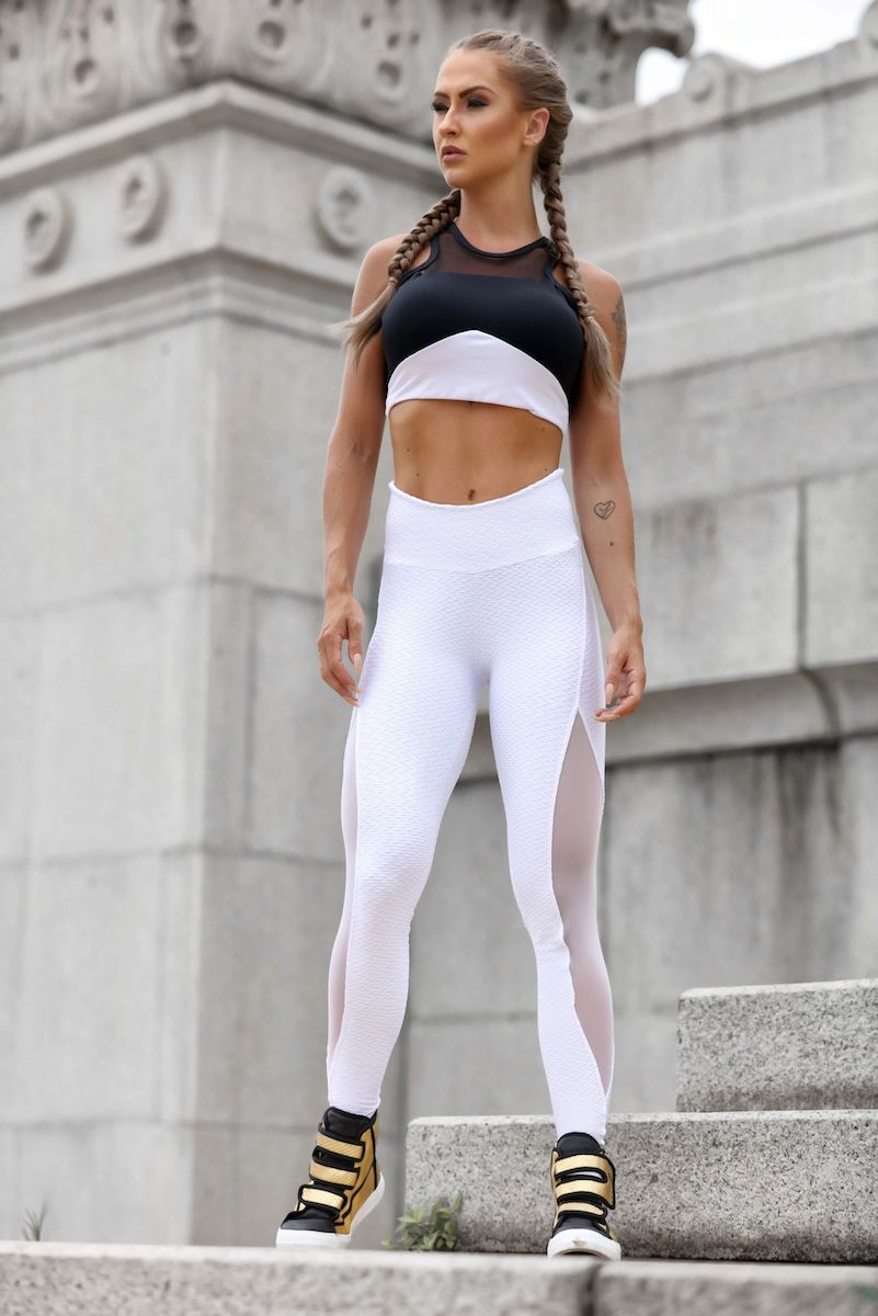 Sculpt Brocade Mesh Leggings in White
