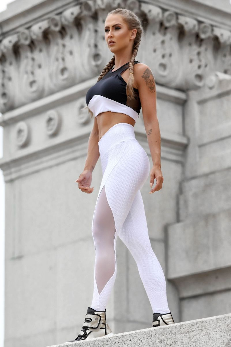 Sculpt Mesh Brazilian Leggings in White