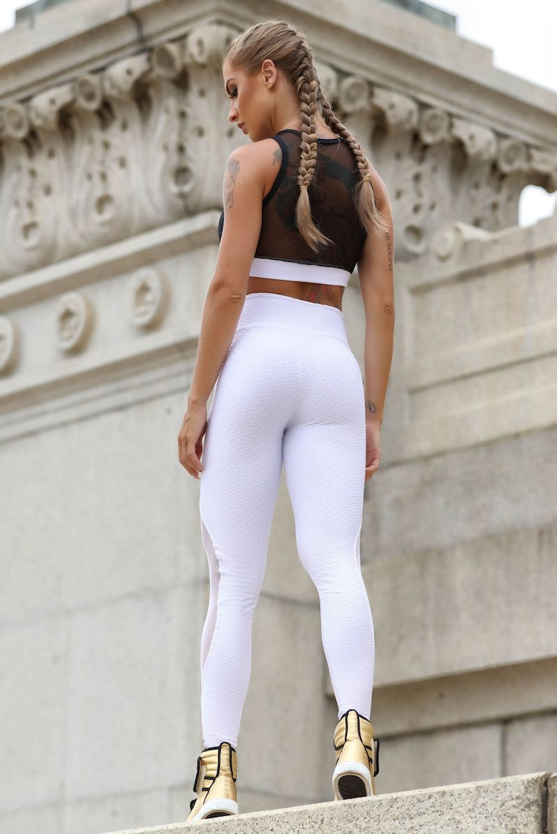 Sculpt Mesh Legging in White