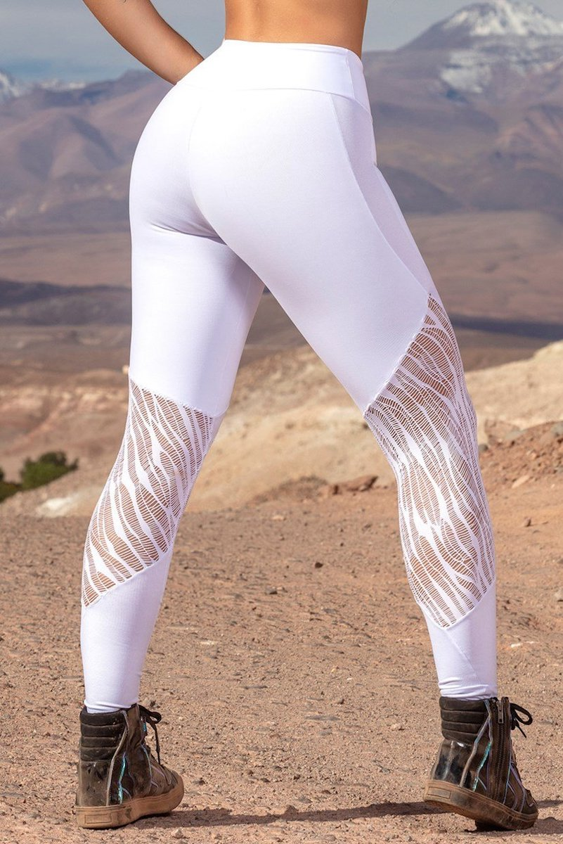 WHITE SHEER SEAM LACE LEGGING