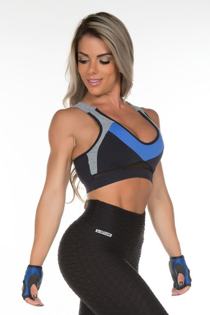 Back Criss Cross padded Sports Bra with mesh detail. Made in Brazil