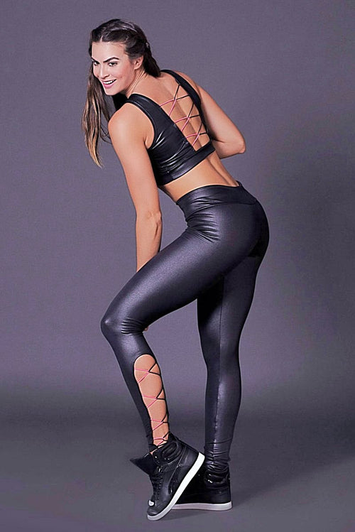 LACE-UP LUSTROUS LEGGING