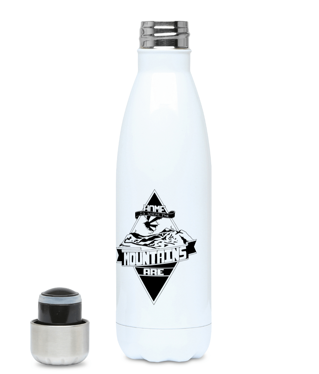 Home Is Where The Mountains Is - Plastic Free 500ml Water Bottle, Suggested Products, Pen and Ink Studios Adventure Clothing