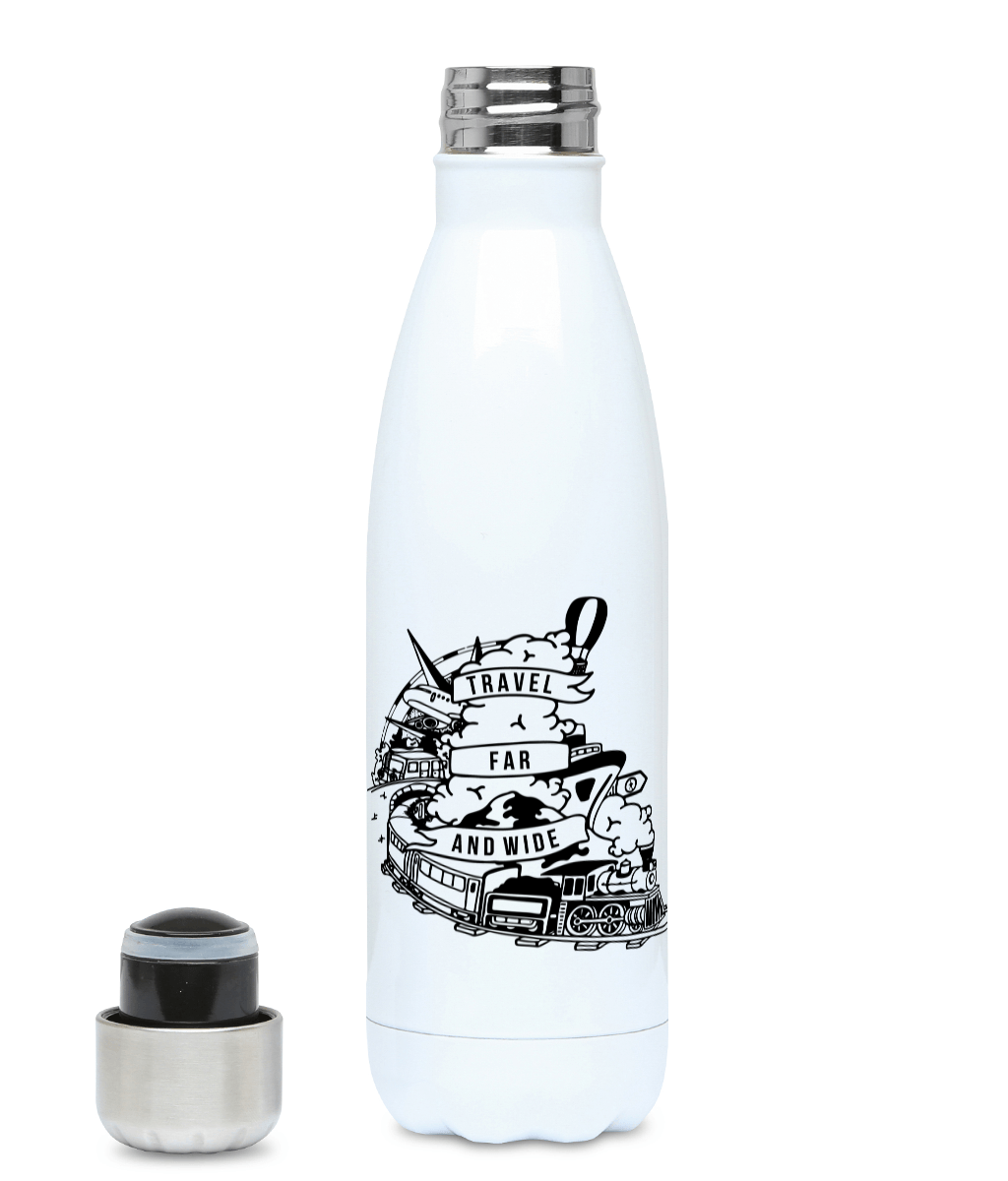 Travel Far And Wide - Plastic Free 500ml Water Bottle - Pen and Ink Studios
