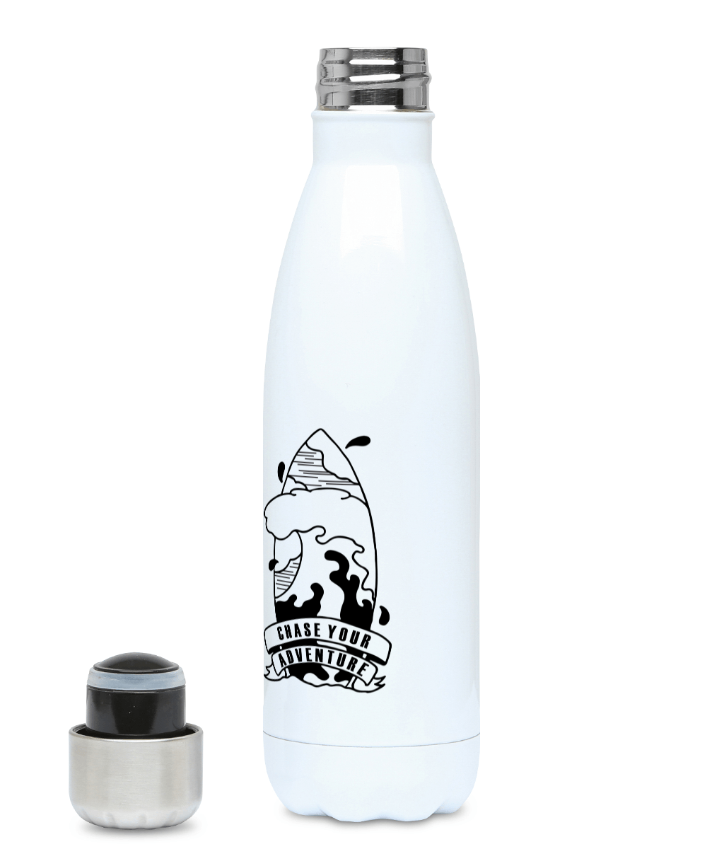 Chase Your Adventure - Surf Edition - Plastic Free 500ml Water Bottle, Suggested Products, Pen and Ink Studios Adventure Clothing