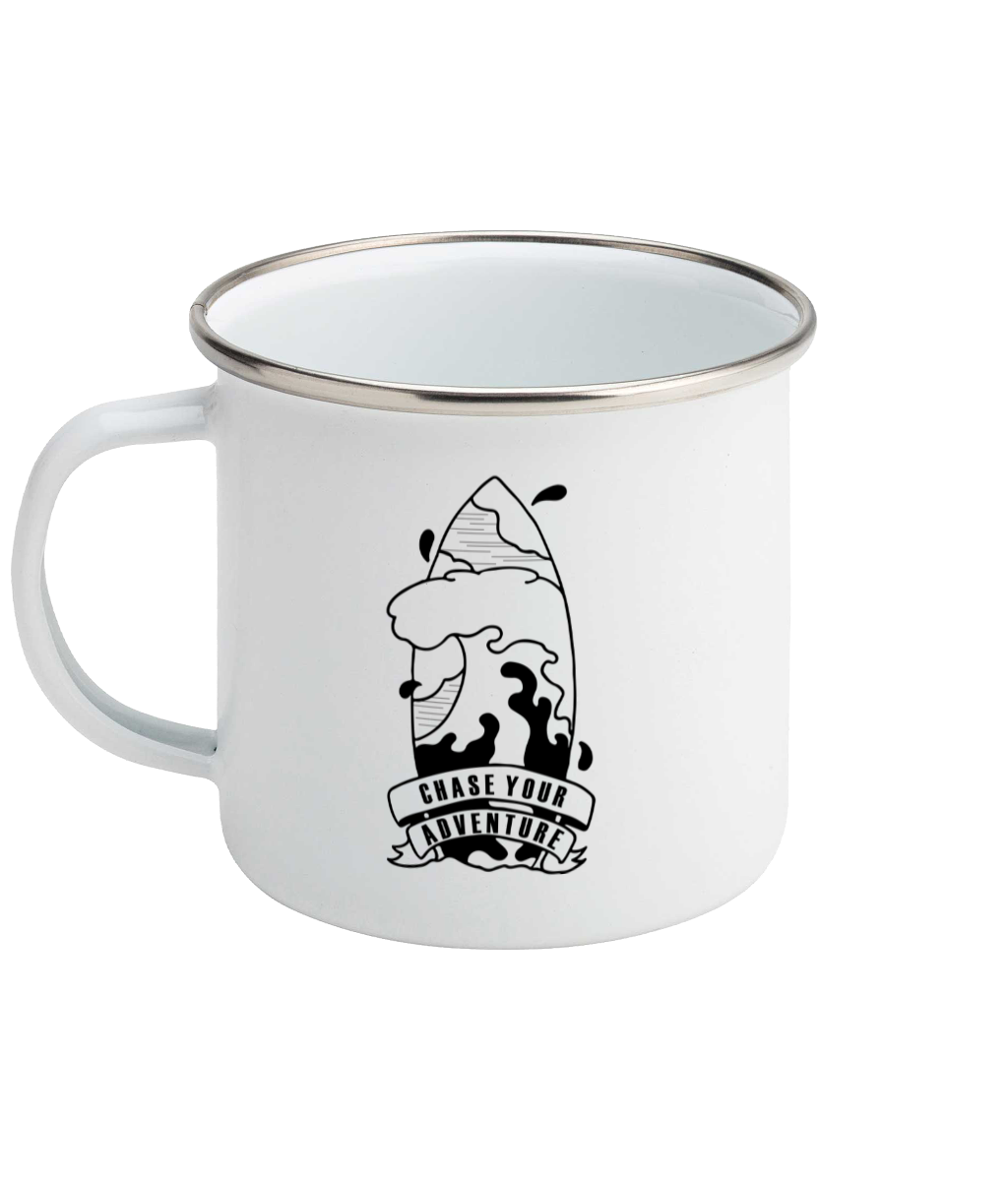Chase Your Adventure- Surf Edition - Enamel Mug, Suggested Products, Pen and Ink Studios Adventure Clothing