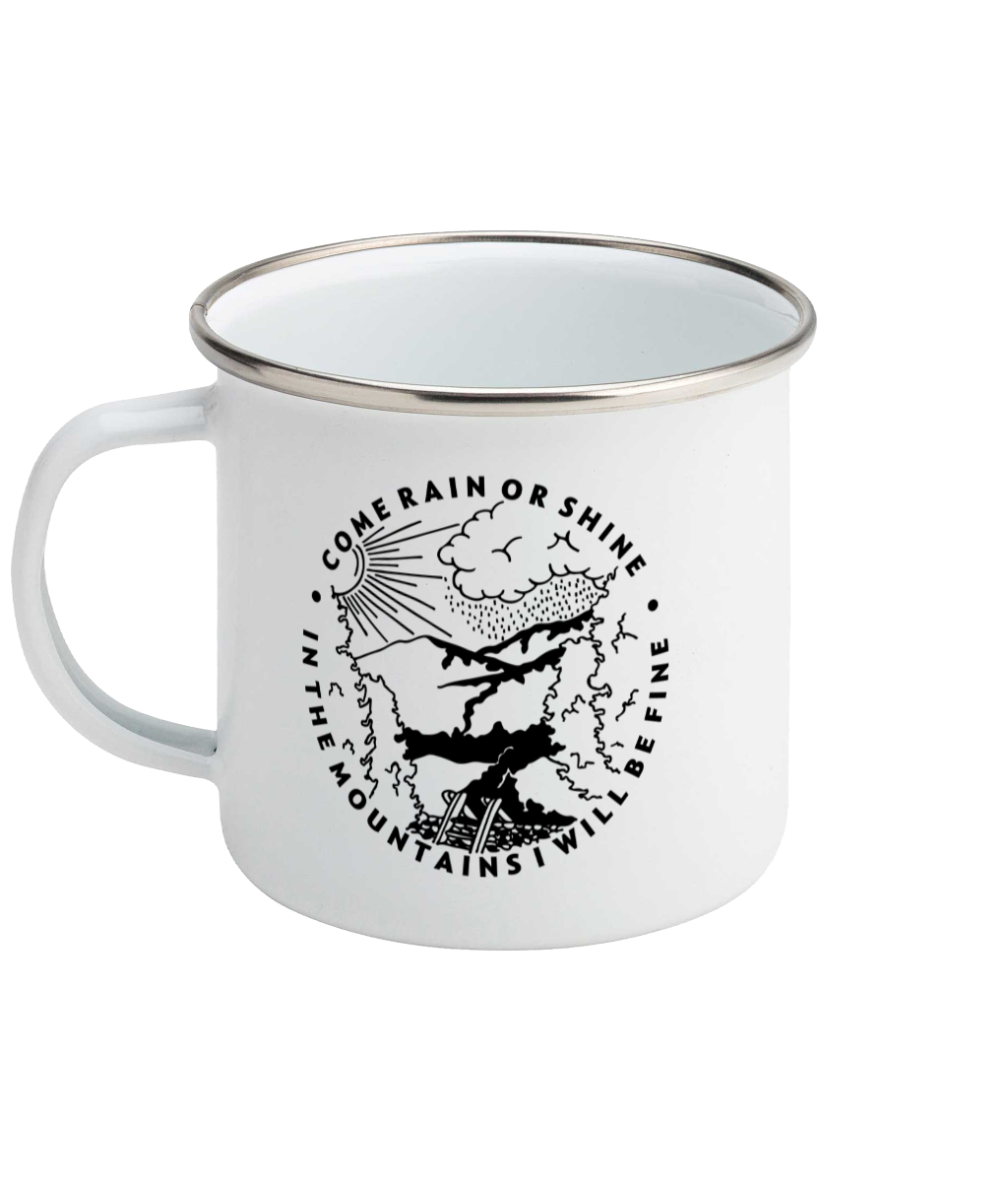 Come Rain Or Shine - Enamel Mug, Suggested Products, Pen and Ink Studios Adventure Clothing