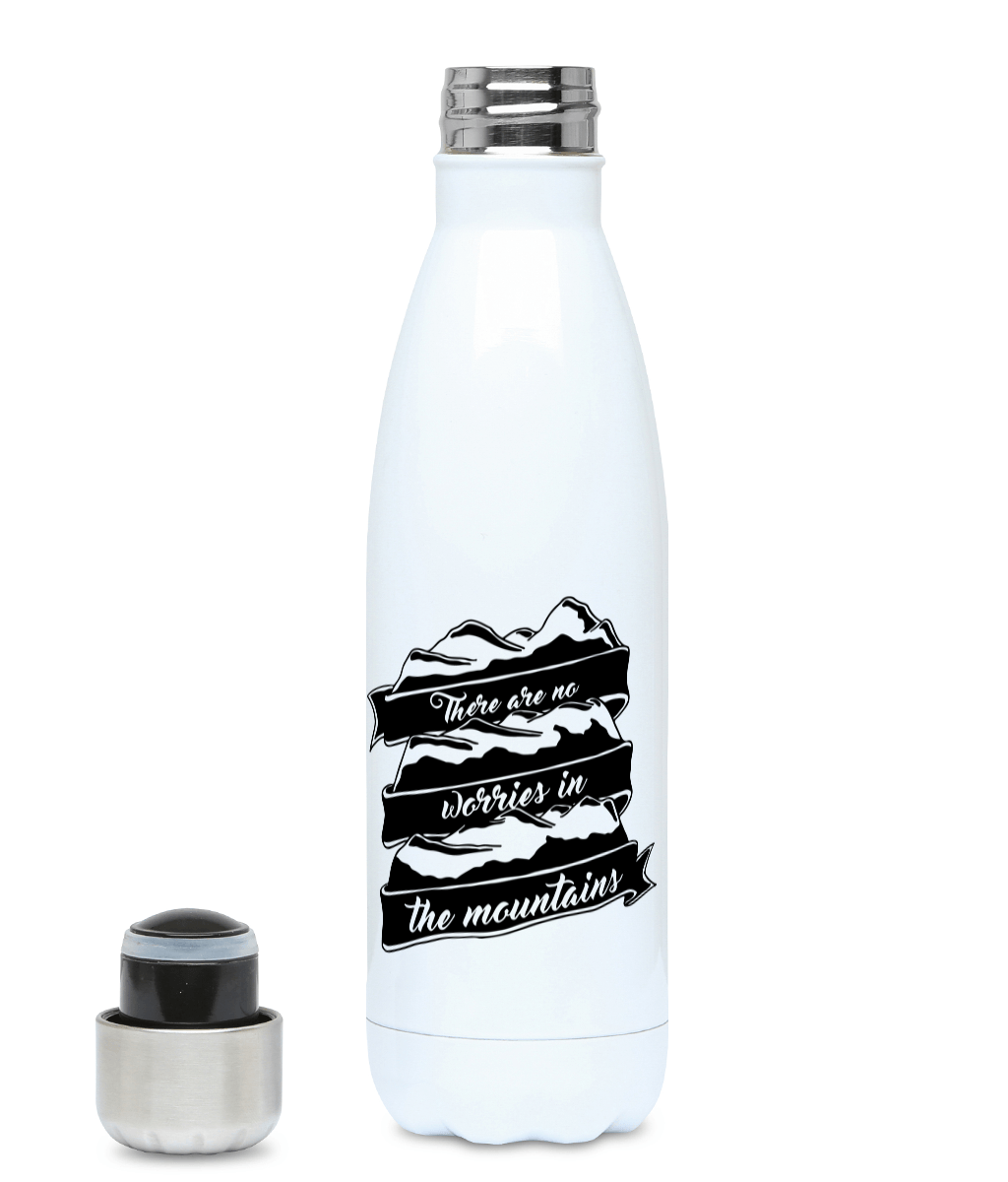 There Are No Worries In The Mountains - Plastic Free 500ml Water Bottle - Pen and Ink Studios