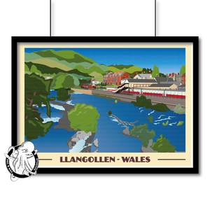 Landscape Lustre Art Print Travel---Vintage Style Travel Poster - Llangollen, Wall Art, Pen and Ink Studios Adventure Clothing