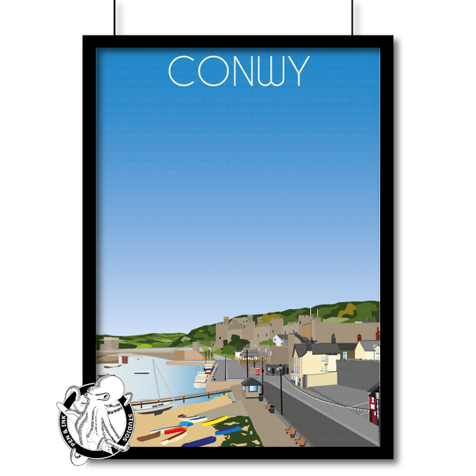 Portrait Lustre Art Print Travel---Vintage Style Travel Poster - Conwy