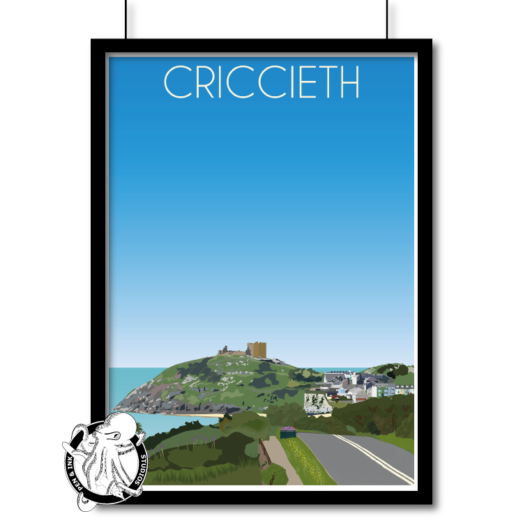 Portrait Lustre Art Print Travel---Portrait---Poster-Print---Criccieth - A2 INK